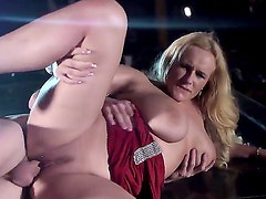 Smoking hot big ass blonde Angel Wicky with long hair and big natural knockers in red