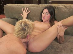 Short haired blond lesbos eats and fingers busty brunette's wet pussy