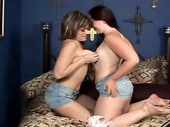Wonderful alike looking brunette lesbos desire to lick each other's pussies