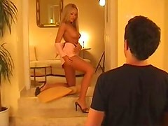 Hot and dick hardening backstage with sexy long legged blondie Bridgett
