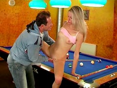 Horny guy is polishing clit of his gf on the billiard table