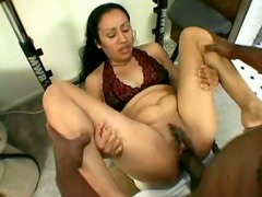 Hairy Indian pussy screwed hardcore in dirty interracial porn video