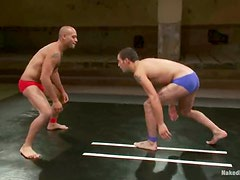Two Athletic Wrestlers Lose Their Thongs During The Match... It's Love At First Sight!
