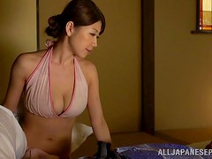 Quite Busty Japanese Wife Giving a Middnight Blowjob