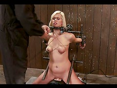 Bondage and torture with toying for blonde girl in BDSM