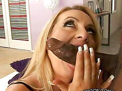 Slutty blonde has her mouth filled by cum after fucking a monster cock