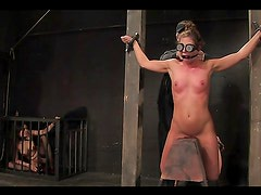 Kinky bondage scene with chains and bars and clamps!