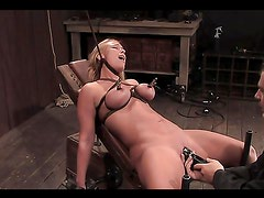 Two submissive blondes tit tortured and toyed in bondage session