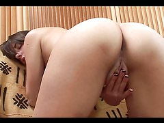 Teen Brunette Sticks Dildo In Her Gash