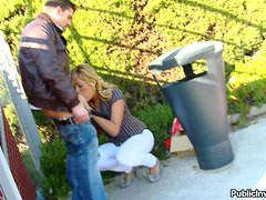 Cute blond babe gets dicked in the park