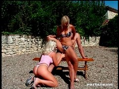 Blondes banging in outdoor group video