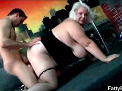 Fat blonde with huge tits does doggystyle fuck