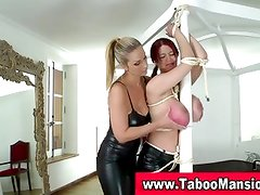 Lesbo domina twists nipples and gags hoe in fetish fun