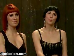 Bdsm lesbians anal fuck with strapon toy while their master watching
