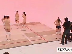 Subtitled Nudist Japan milfs volleyball and cum facial