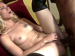 Biggz is a guy with a big black cock and Melanie Jayne is a hot blonde who will