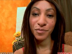 Nadia Pariss sucks a prick and gets her face splattered with jizz