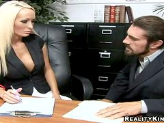 Busty Lichelle Marie gives a titjob and gets nailed