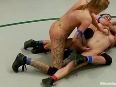 A Catfight Over A Dildo Harness, These Bitches Turn The Audience On!