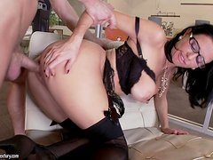 Slutty MILF in Glasses and Lingerie Veronica Avluv Fucked in the Office