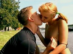 Sporty blonde slut fingers her pussy and gives hot blowjob to her lover