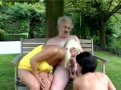 Astonishing pale gals Vicky & Noelle suck tasty lollicock of old fat man Sam