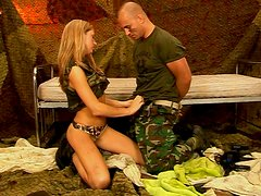 Steamy blond military chic gets her cunt tongue fucked before giving blowjob