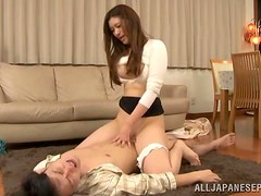 Sensual Japanese babe is riding her guest's hard cock