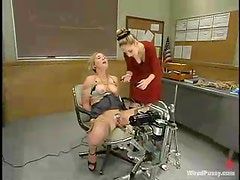 Submissive Blonde Toyed and Tortured in Lesbian BDSM in Classroom