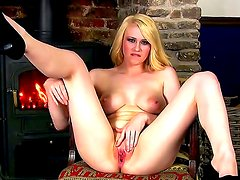 Young provocative blonde bitch Jane with big juicy hooters and pretty face in high heels