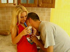 Sexy blonde whore gets her juicy pussy licked in the kitchen