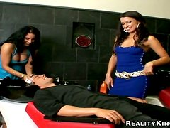 Hairdresser Ann Marie and Hot Latina Assitant Sharing a Client's Dick