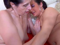 Old lesbian gets naughty with brunette