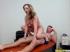 Classy milf in office gives up pussy