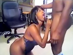 Curvy black girl sucks big black cock
