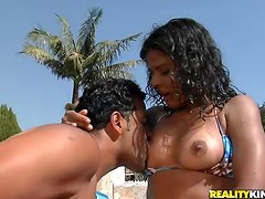 Wet Brazilian banged in shaved pussy