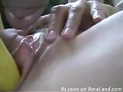 Banana is delicious in pussy