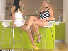 Two sexy babes in hot high