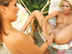 Clara inserts her full fist inside Peaches'  pussy. Peaches then begins to fist Clara who squirts A jet of doll ejaculate all over. Both sweetpies fist themselves in the end.
