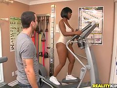 Busty ebony chick Stacy Adams gets seduced and fucked by her fitness coach