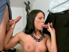 Full bodied brunette bombshell is pleasing two horny studs in dirty MMF threesome porn scene