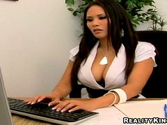 Busty Jessica Bangkok gets her pussy destroyed in an office