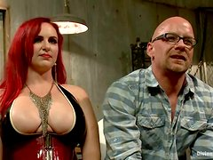 Busty redhead chick toys Chad Rock in his ass