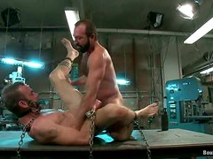 Clayton Kent blows and gets his butt amazingly drilled in BDSM clip