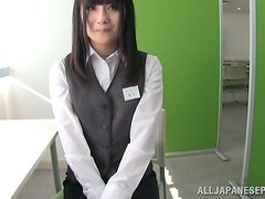 Japanese Beauty Chika Hirako Giving POV Blowjob in the Office
