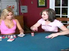 Three nasty lesbians play poker and share a few dildos