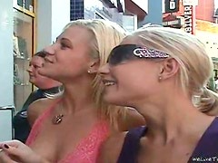 Hot brunette and two blondes have lesbian threesome sex