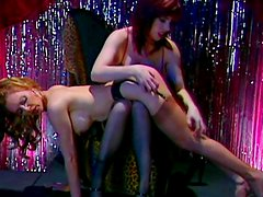 Blonde lesbian is pole dancing and getting spanked