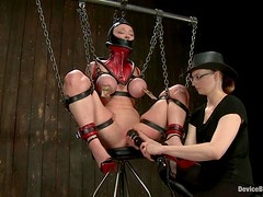 Darling gets chained, tormented and fucked hard with big toys