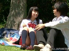 Nasty Japanese teen jumps on her BF's prick in the forest
